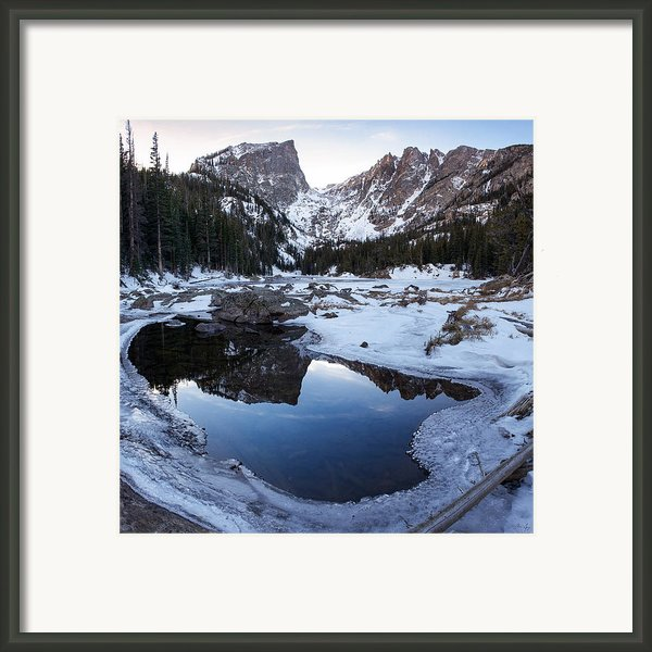 Dream Lake Reflection Square Format Framed Print By Aaron Spong