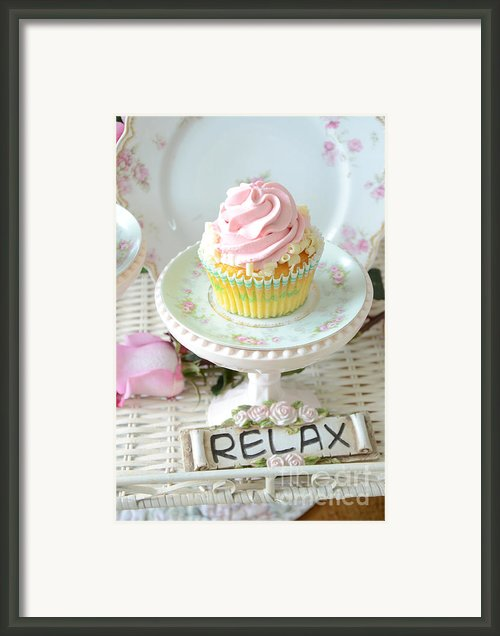 Dreamy Shabby Chic Cupcake Romantic Food Vintage Cottage Art Food Photography - Just Relax Framed Print By Kathy Fornal