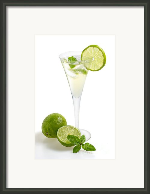 Drink With Lime And Mint In A Champagne Glass Framed Print By Palatia Photo