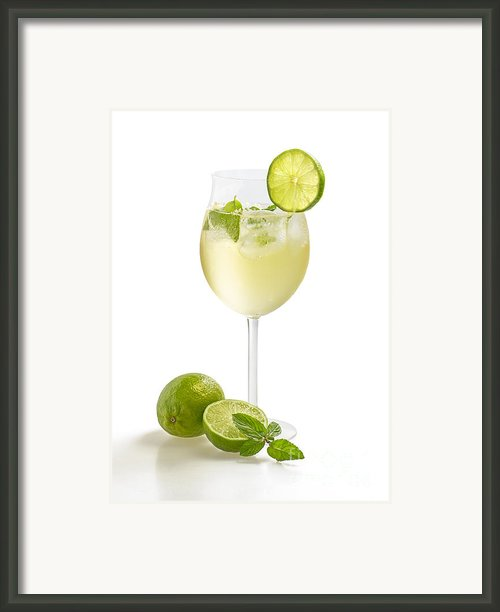 Drink With Lime And Mint In A Wine Glass Framed Print By Palatia Photo