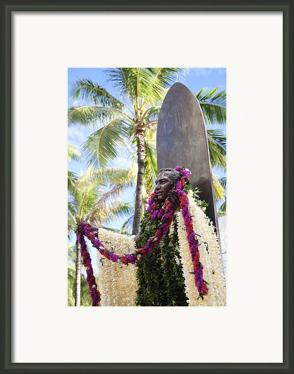 Duke Kahanamoku Covered In Leis Framed Print By Brandon Tabiolo
