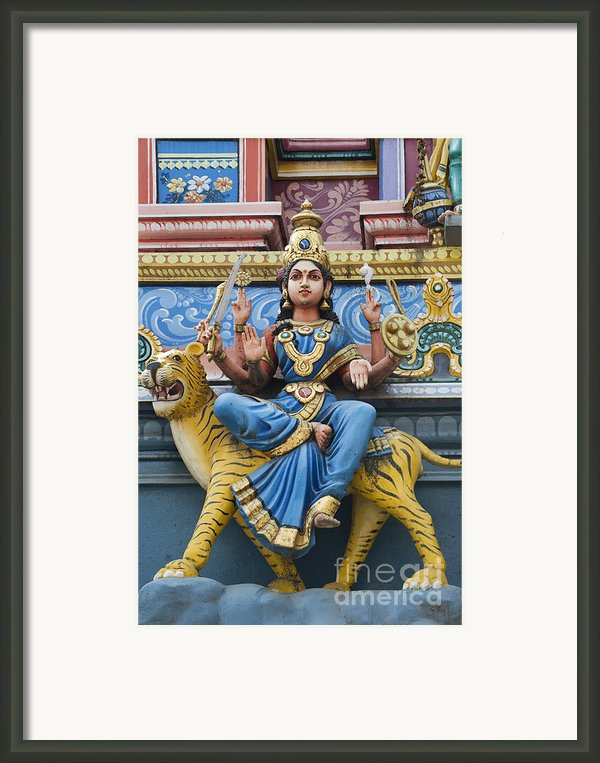 Durga Statue On Hindu Gopuram Framed Print By Tim Gainey