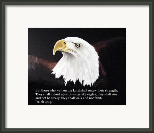 Eagle With Scripture Framed Print By Zelma Hensel