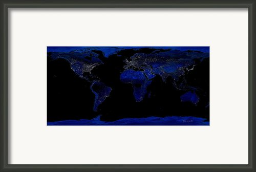 Earth At Night Framed Print By Bob Orsillo