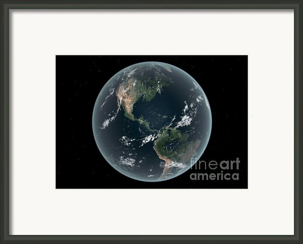 Earths Western Hemisphere With Rise Framed Print By Walter Myers