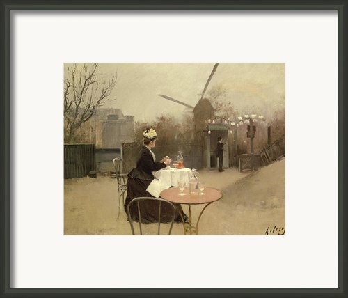 Eating Al Fresco Framed Print By Ramon Casas I Carbo