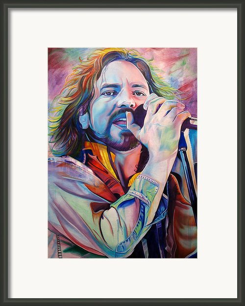 Eddie Vedder In Pink And Blue Framed Print By Joshua Morton