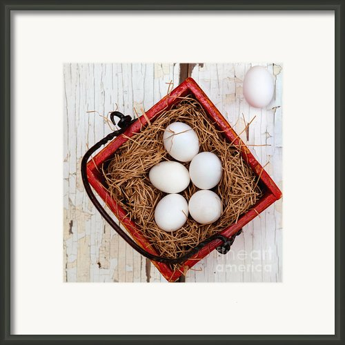 Eggs In Red Basket Framed Print By Art Block Collections