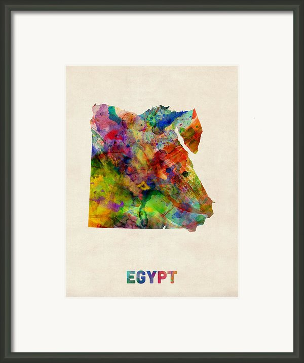 Egypt Watercolor Map Framed Print By Michael Tompsett