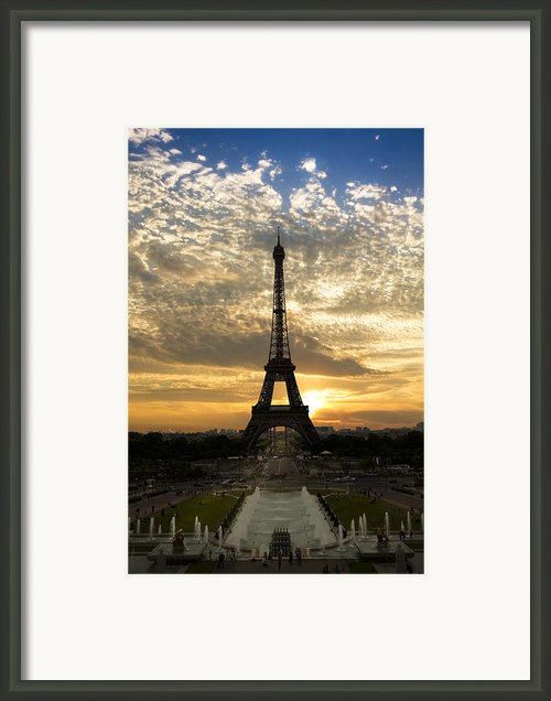 Eiffel Tower At Sunset Framed Print By Debra And Dave Vanderlaan