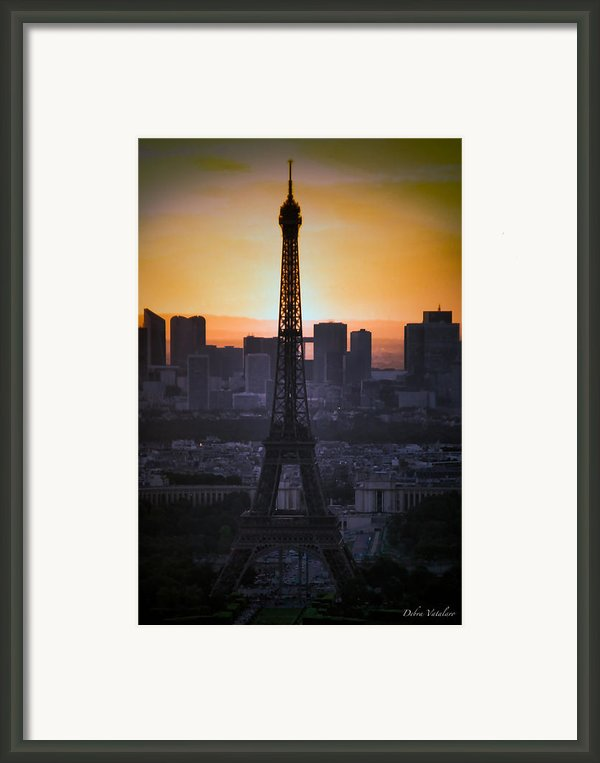 Eiffel Tower Sunset Framed Print By Debra     Vatalaro