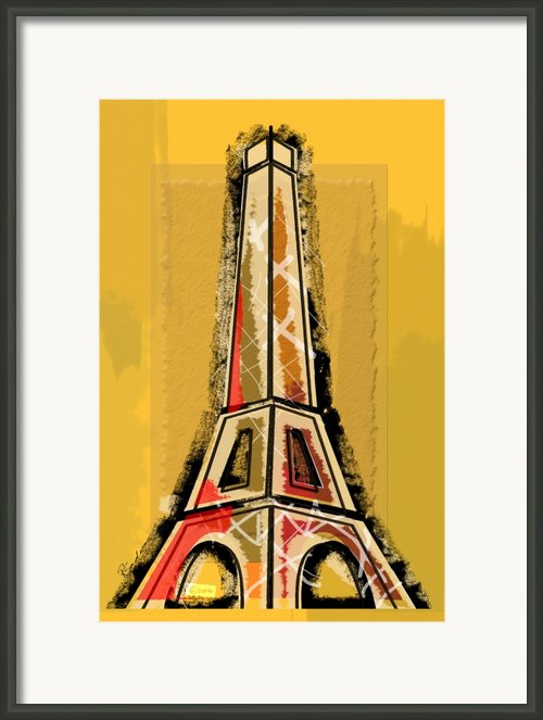 Eiffel Tower Yellow And Red Framed Print By Robyn Saunders