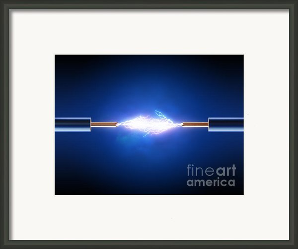 Electrical Spark Between  Two Insulated Copper Wires Framed Print By Johan Swanepoel