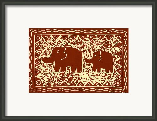 Elephant And Calf Lino Print Brown Framed Print By Julie Nicholls