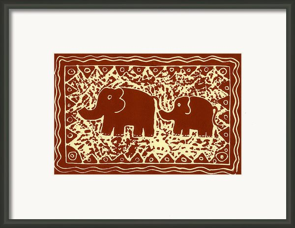 Elephant And Calf Lino Print Brown Framed Print By Julie Nicholls