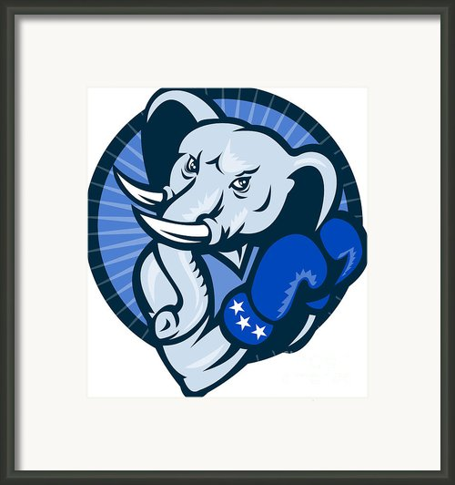 Elephant With Boxing Gloves Democrat Mascot Framed Print By Aloysius Patrimonio