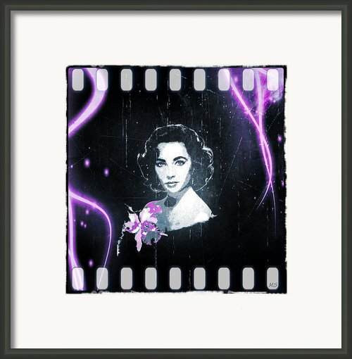 Elizabeth Taylor - Purple Film Framed Print By Absinthe Art By Michelle Leann Scott