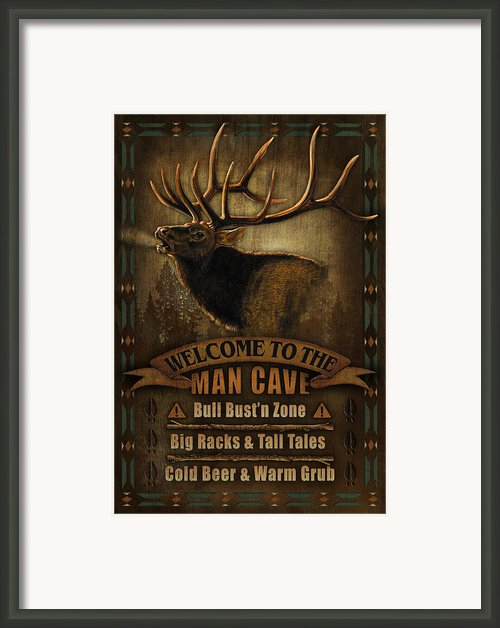 Elk Man Cave Sign Framed Print By Jq Licensing