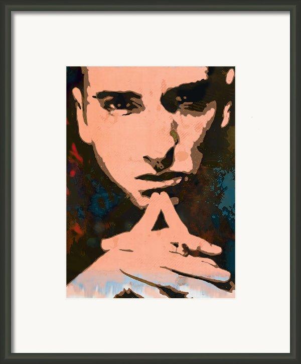 Eminem - Stylised Pop Art Poster Framed Print By Kim Wang