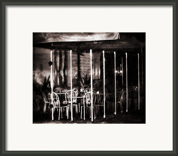 Empty Chairs And Empty Tables - Soft Sepia Vintage Framed Print By Zeana Romanovna
