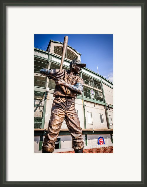 Ernie Banks Statue At Wrigley Field  Framed Print By Paul Velgos
