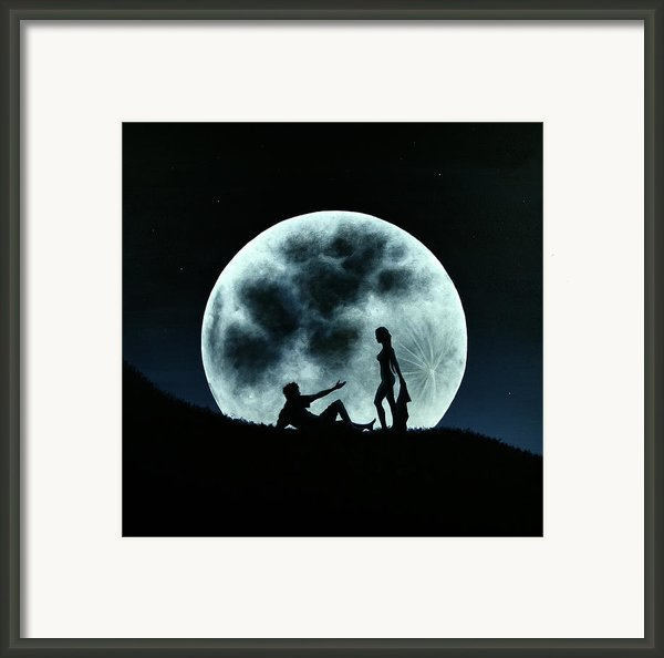 Eros Under A Full Moon Rising Framed Print By Ric Nagualero