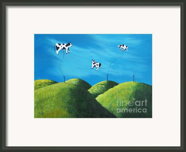 Even Cows Have Strange Dreams By Shawna Erback Art Framed Print By Shawna Erback