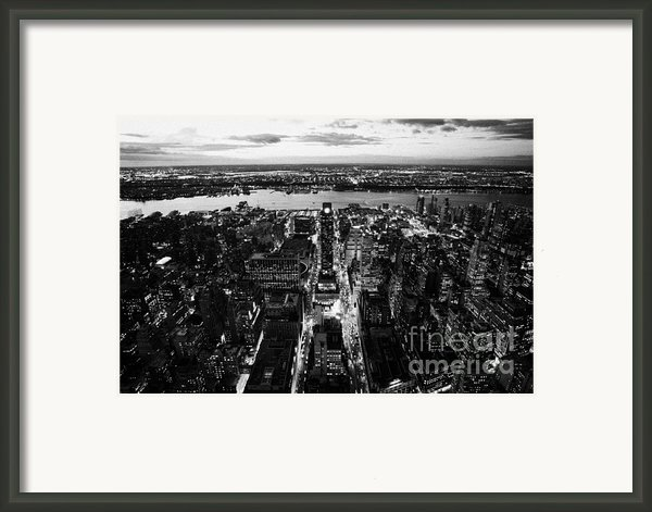 Evening View Of Manhattan West Towards Hudson River And One Penn Plaza Night New York City Framed Print By Joe Fox