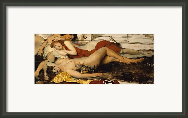 Exhausted Maenides Framed Print By Sir Lawrence Alma Tadema