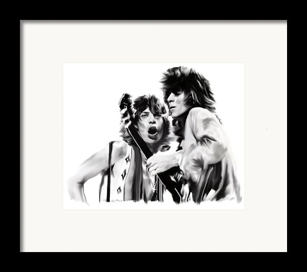 Exile  Mick Jagger And Keith Richards Framed Print By Iconic Images Art Gallery David Pucciarelli