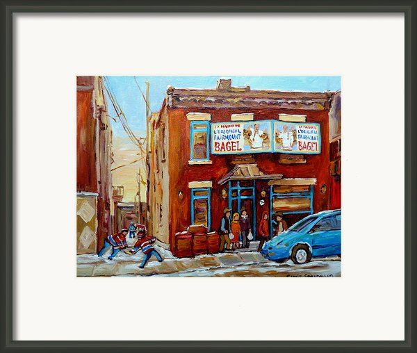 Fairmount Bagel In Winter Montreal City Scene Framed Print By Carole Spandau