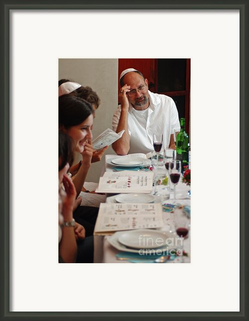 Family Around The Sedder Table Framed Print By Ilan Rosen