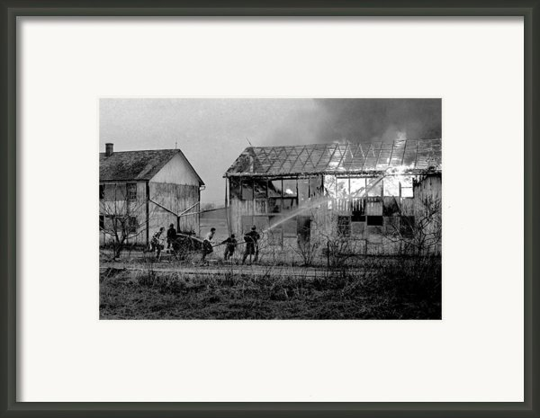 Farm Fire Framed Print By Mike Flynn