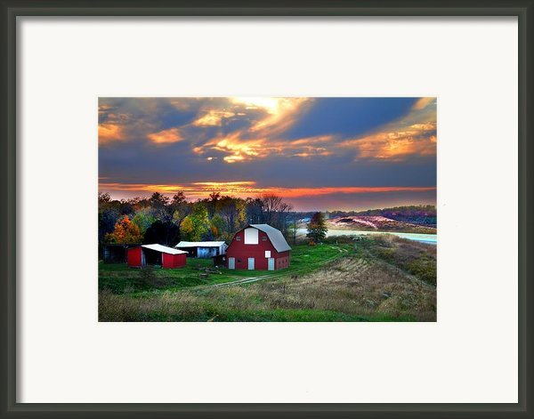 Farmstead At Sunset Framed Print By Julie Dant
