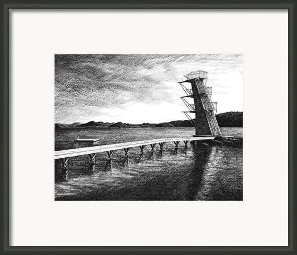 Farsund Badehuset In Ink Framed Print By Janet King