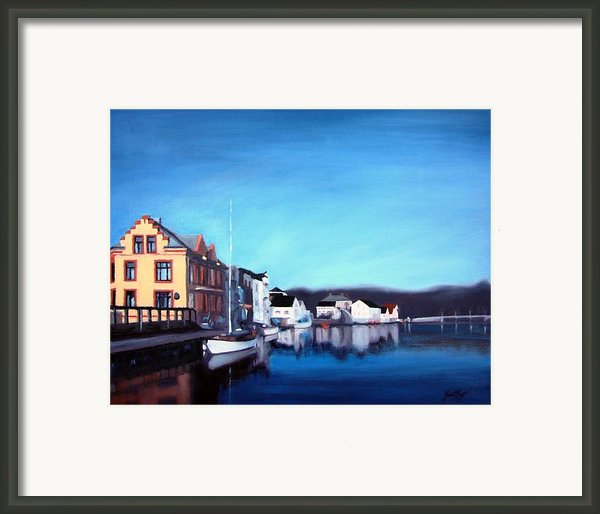 Farsund Dock Scene I Framed Print By Janet King