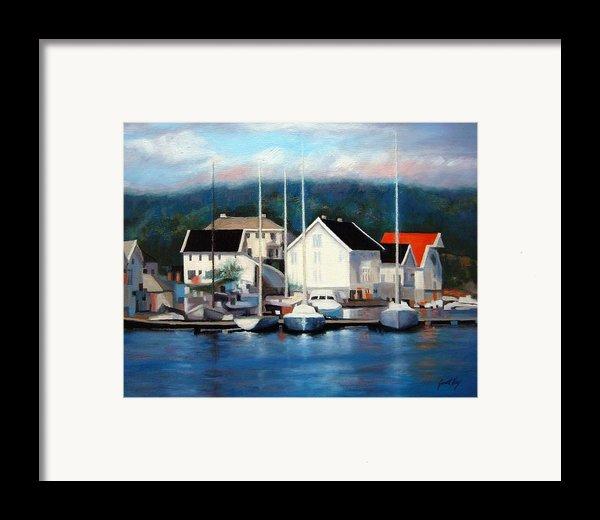 Farsund Dock Scene Painting Framed Print By Janet King