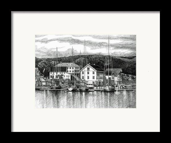 Farsund Dock Scene Pen And Ink Framed Print By Janet King