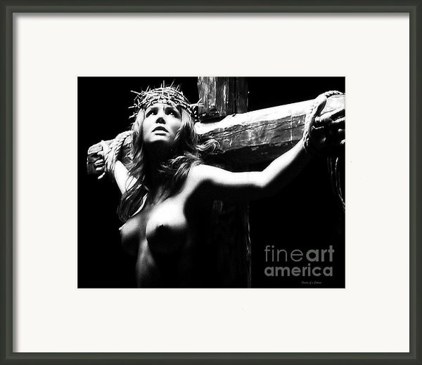 Female Christ Black And White Framed Print By Ramon Martinez