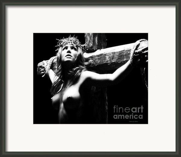 Female Christ Black And White Framed Print By Ramon Martinez