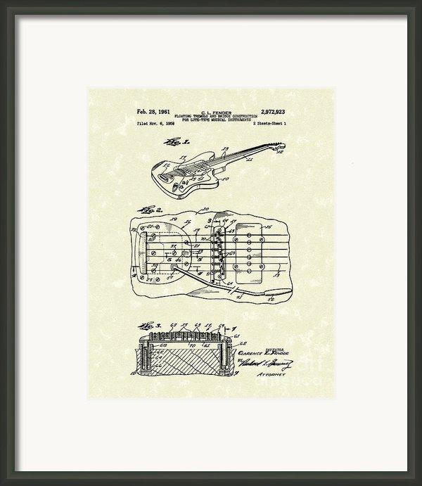Fender Floating Tremolo 1961 Patent Art Framed Print By Prior Art Design