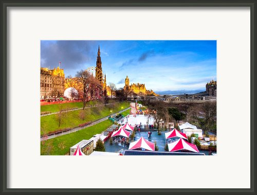 Festive Princes Street Gardens - Edinburgh Framed Print By Mark E Tisdale
