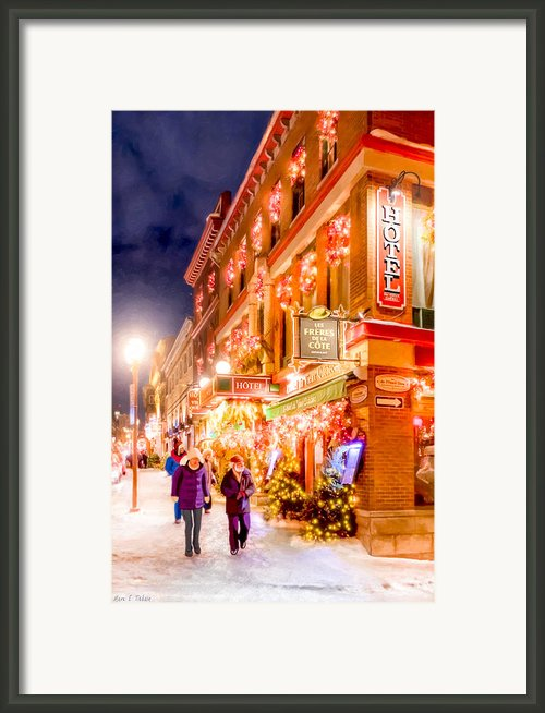Festive Streets Of Old Quebec Framed Print By Mark E Tisdale