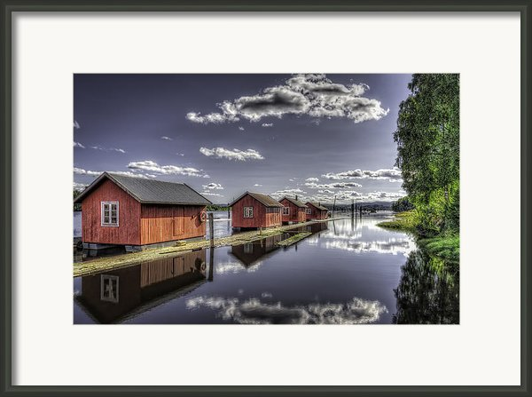 Fetsund Timber Booms Color Framed Print By Erik Brede
