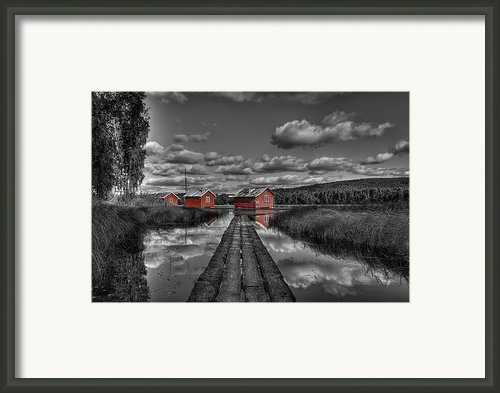 Fetsund Timber Booms - Selective Color Framed Print By Erik Brede