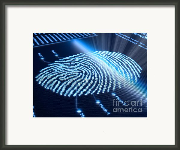 Fingerprint On Pixellated Screen Framed Print By Johan Swanepoel