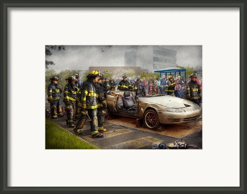 Firemen - The Fire Demonstration Framed Print By Mike Savad