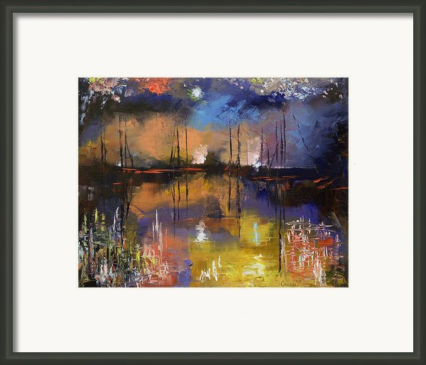 Fireworks Painting Framed Print By Michael Creese
