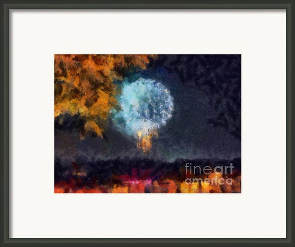Fireworks Through The Trees Framed Print By Chris Reed