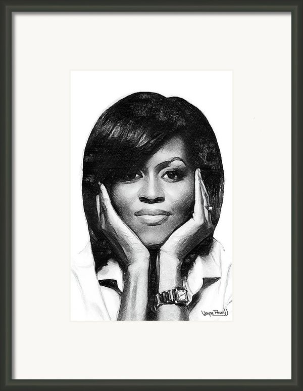 First Lady - Michelle Framed Print By Wayne Pascall